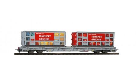 """Bemo 2291 120 Tragwagen """"Bündner Güterbahn"""" Apfel & Hafen, R-w 8210 der RhB"""