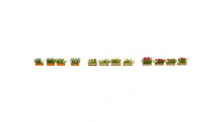 Noch 14009 Blumenkästen blühend rot, weiss und gelb