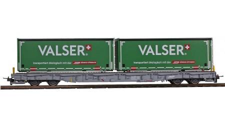 """Bemo 2291 174 Tragwagen mit Container """"Valser"""" R-w 8384 der RhB"""