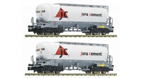 Fleischmann 848902 2-tlg. Silo-/Güterwagen, Bauart Uacns 932, der Jura Cement/Wascosa, Epoche VI