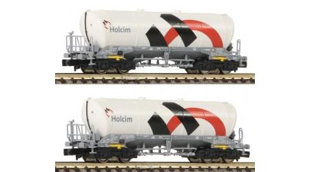 Fleischmann 848903 2-tlg. Silo-/Güterwagen, Bauart Uacns 932, der Schweizer Holcim/Wascosa, Epoche VI