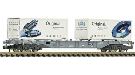 """Fleischmann 825205 Container- und Wechselbehälter-Tragwagen Bauart Sgns """"AMAG"""" der SBBhe VI"""