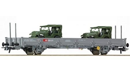 Roco 67424 Rungenwagen der SBB mit zwei Jeep M38A1
