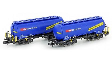 "Kato / Hobbytrain 23485 Silowagen Uacs SBB blau ""Lebensmittel"", Ep.VI (2-teilig)"