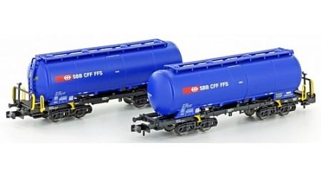 "Kato / Hobbytrain 23486 Silowagen Uacs SBB blau ""Lebensmittel"", Ep.VI (2-teilig)"