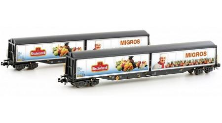 """Kato / Hobbytrain 23456 Schweizer Schiebewandwagen-Set 4-Achs Habils SBB """"Bischofszell"""" (2-teilig)"""