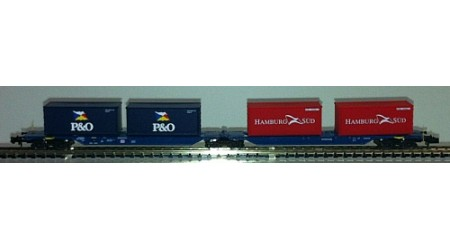 """Kato / Hobbytrain 23702 Doppeltragwagen mit 4 Container """"P&O und Hamburg Süd"""""""