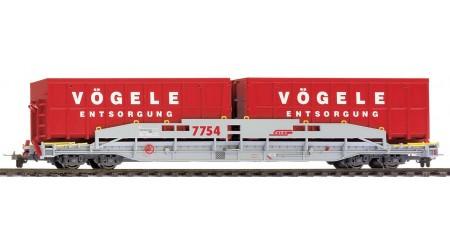 """Bemo 2290 124 RhB Sl 7754 ACTS Tragwagen """"Vögele Recycling"""""""