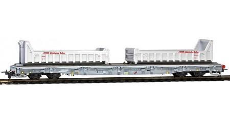 Bemo 2291 119 RhB R-w 8209 ACTS-Tragwagen mit Mulden