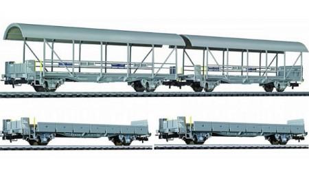 Liliput 260120 - 2 Auffahrwagen und 2 Autotransportwagen BLS (4-teilig)