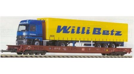 """Fleischmann 5273 - 8-achsiger Niederflur- Zwischenwagen beladen mit einem Herpa-LKW """"Willy Betz"""""""