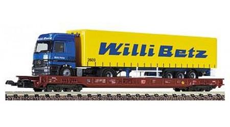 """Fleischmann 8277 Niederflurwagen Saadkms mit Herpa Lastwagen """"Willy Betz"""". Epoche V"""