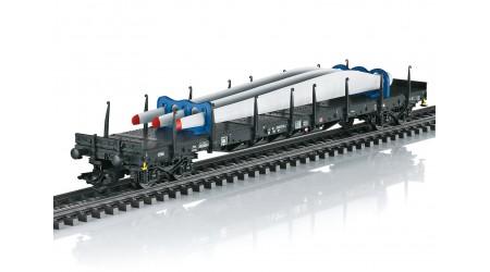 """Märklin 47134 - 4 teiliges Rungenwagen-Set """"Windkraft"""", beladen mit Nachbildungen von Teilen einer Windkraftanlage"""