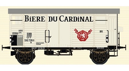"""Brawa 67865 Gedeckter Güterwagen K2 """"BIERE DU CARDINAL"""" der SBB"""